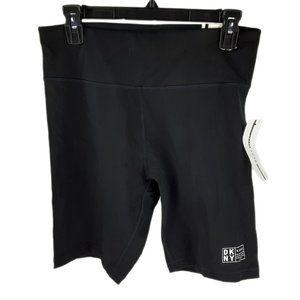 DKNY NEW Womens Large Black High Waist Gym Shorts